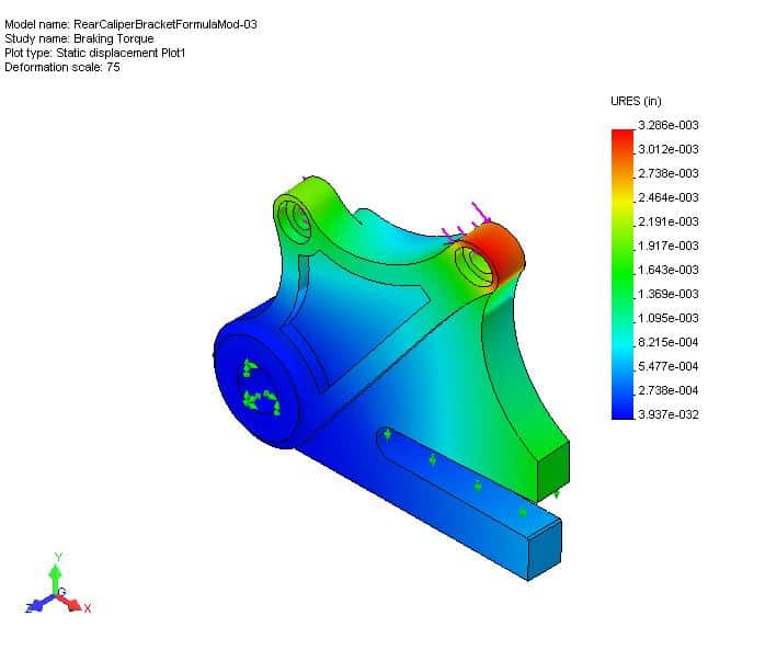 CAD drawing of rear caliper brake bracket, 3D Design Concepts, Vista CA